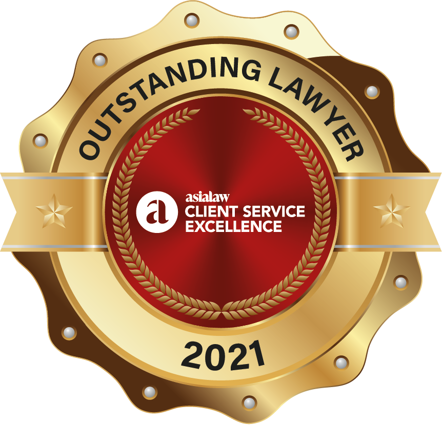 """""""The Highest Rated Lawyer to work with of the Year"""" in Capital Markets (Hong Kong) by Asialaw Client Service Excellence, 2021"""