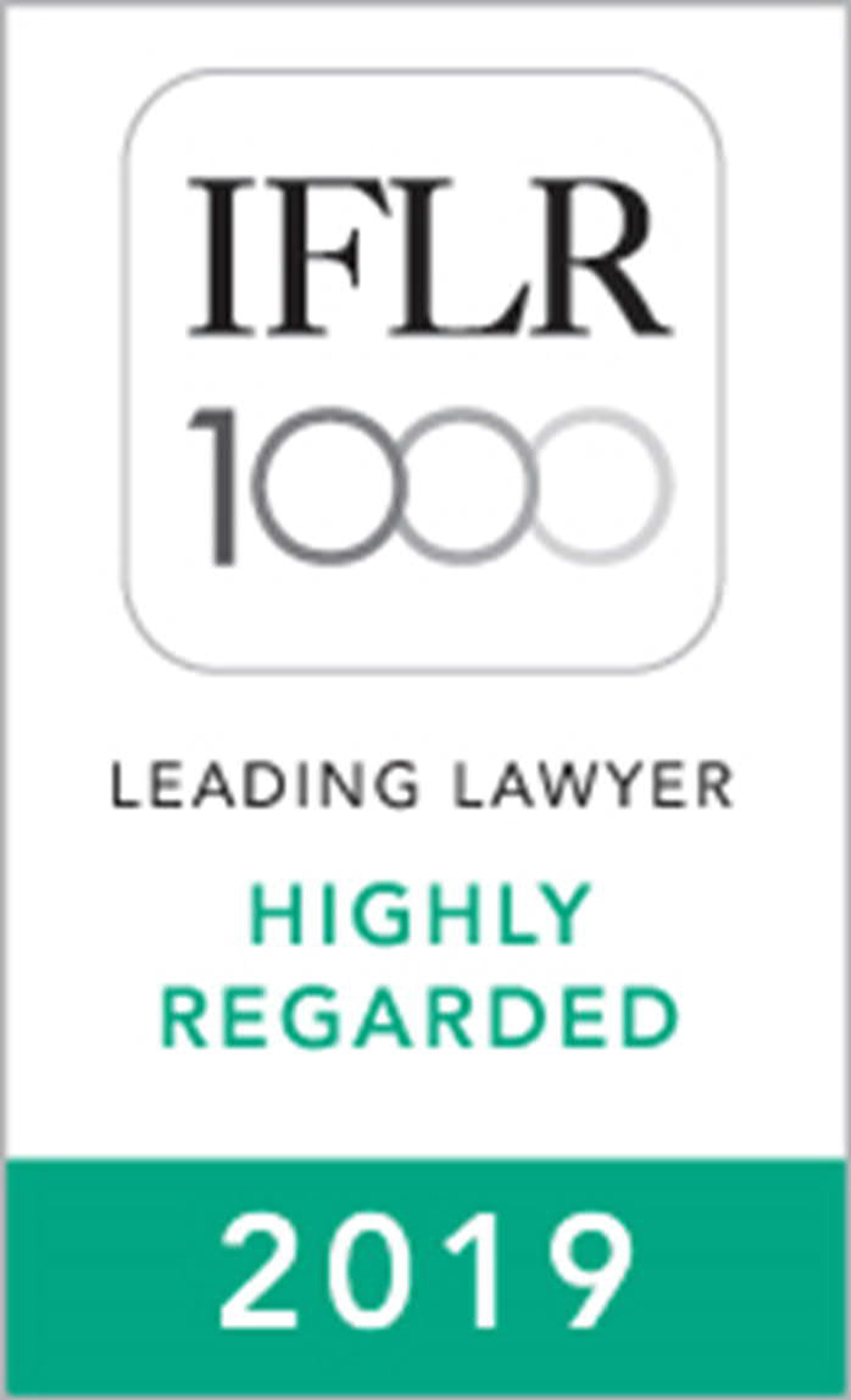 Highly Regarded Leading Lawyer in Financial & Corporate Law by IFLR1000, 2015-2019
