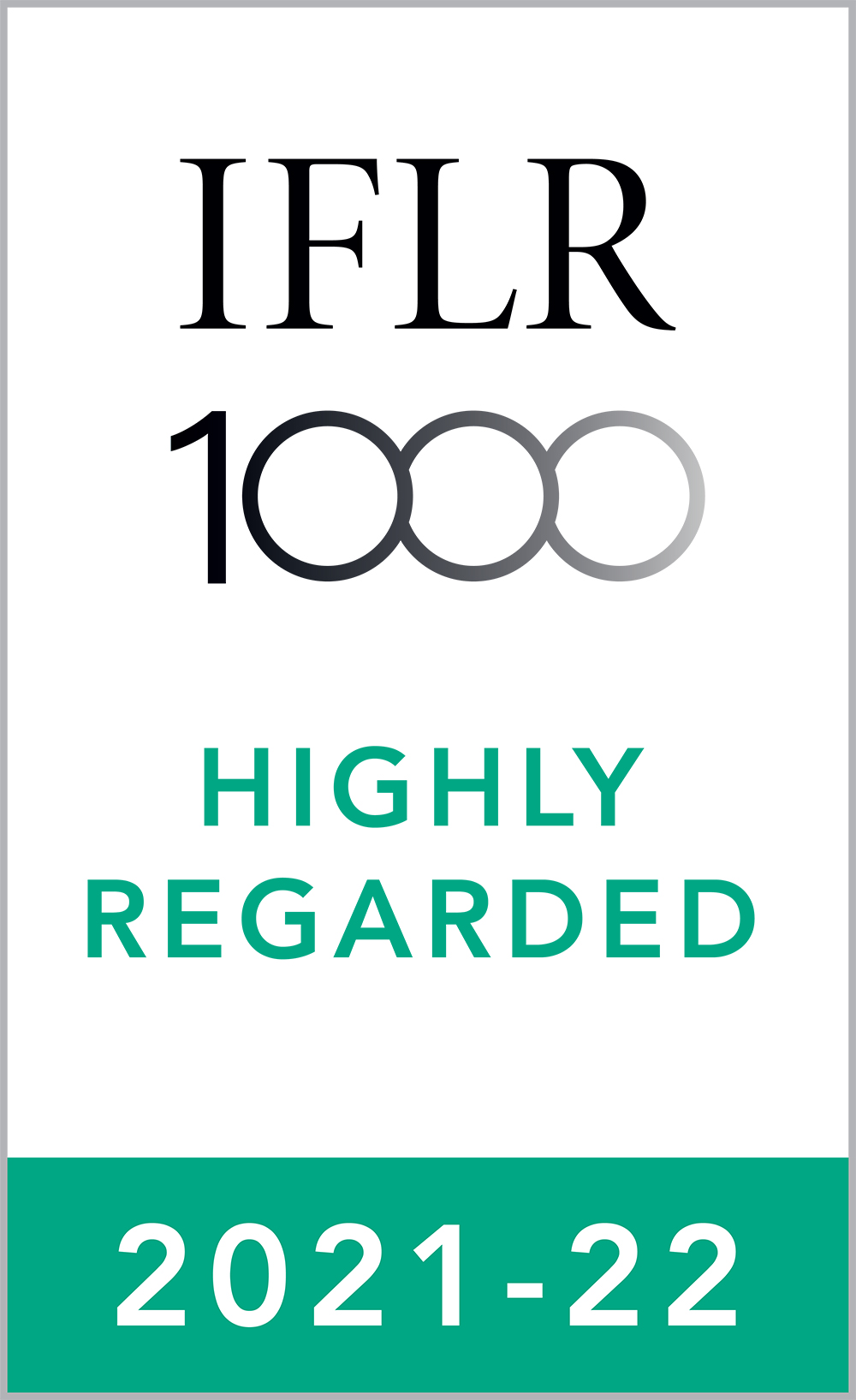 Highly Regarded Leading Lawyer in Capital markets: Equity, M&A, Private equity and Restructuring and insolvency practices by IFLR1000, 2021-22