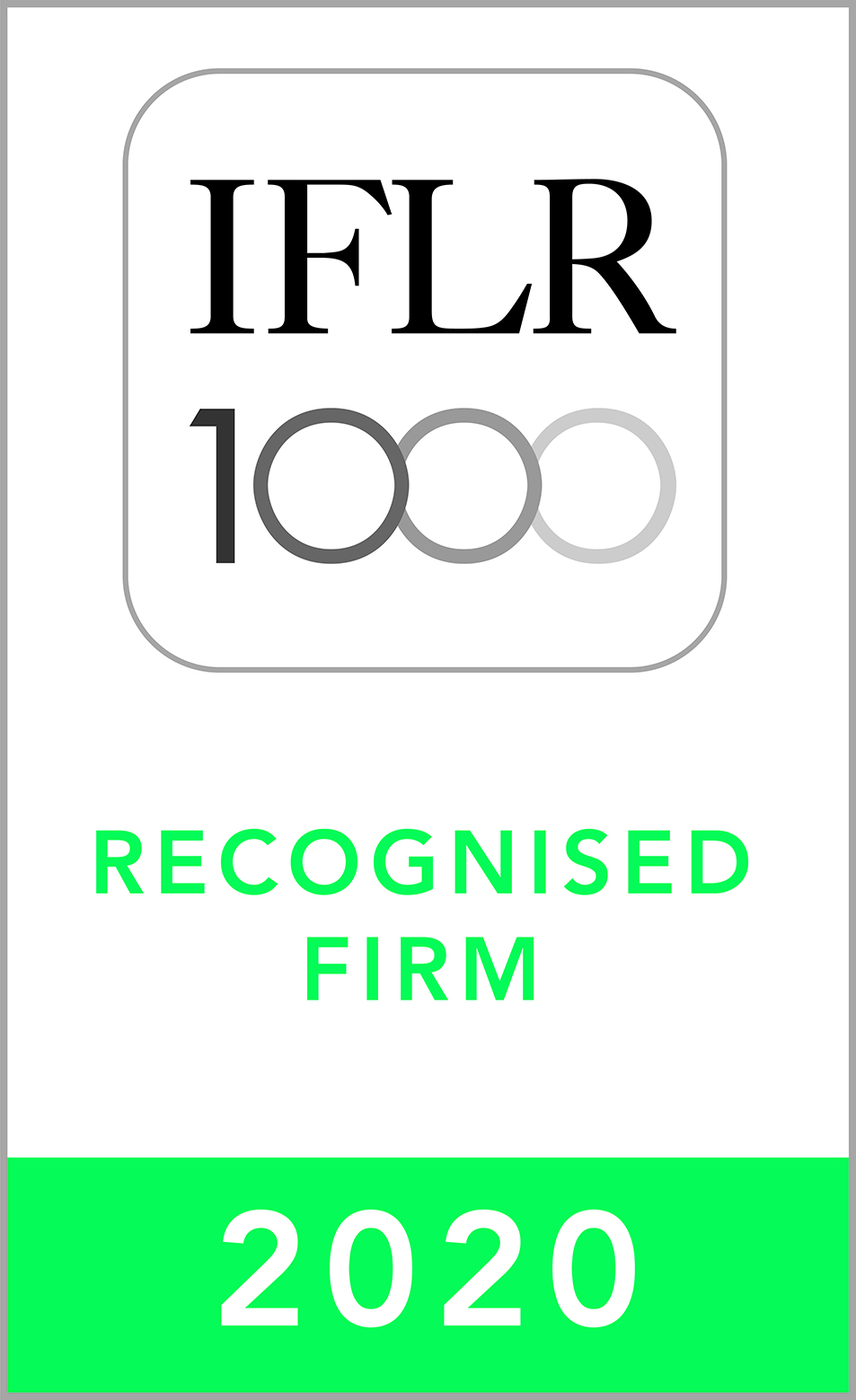 """Ranked """"Notable"""" Firm by IFLR1000, 2020 edition"""