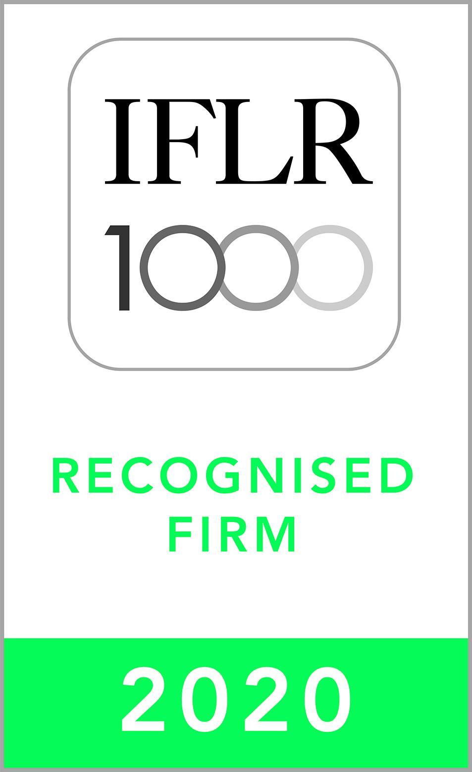 """《国际金融法律评论》(IFLR1000)2020年兼并与收购领域""""备受注目""""香港律师事务所"""